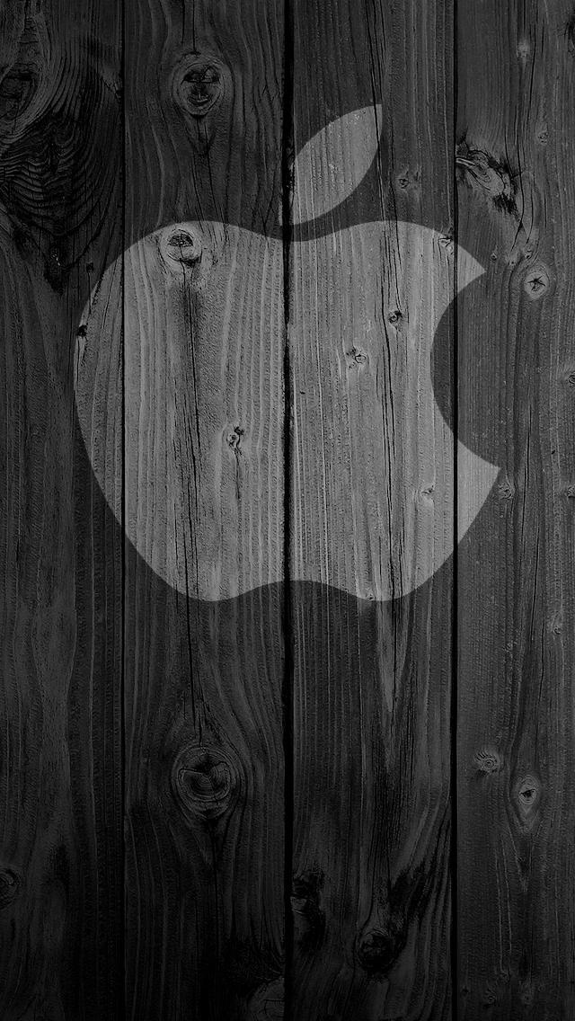 iPhone 6 Wallpaper Wood apple logo 640x1136