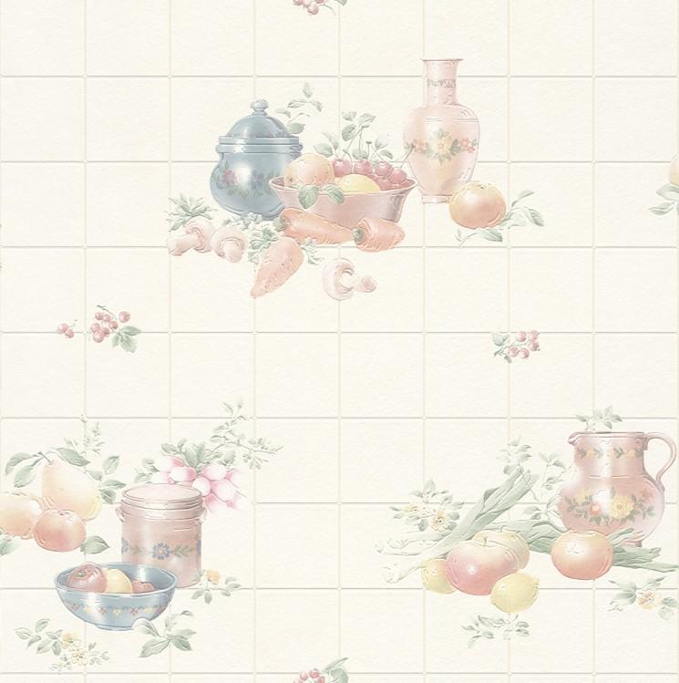 Rasch Fruit Bowl Vinyl Kitchen Wallpaper   884913   Cream  Sample 745x749