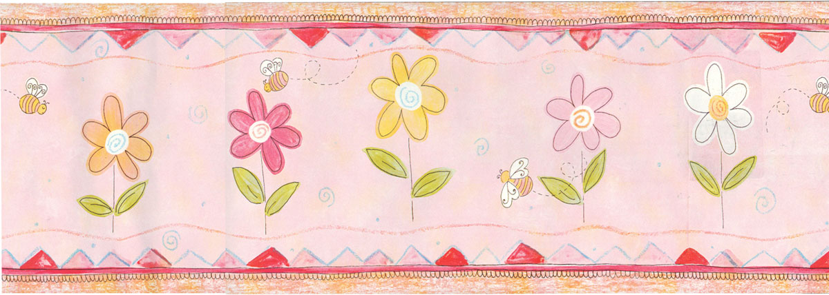 Bumble Bees and Daisies   Girls Wallpaper Wall Border 1200x428