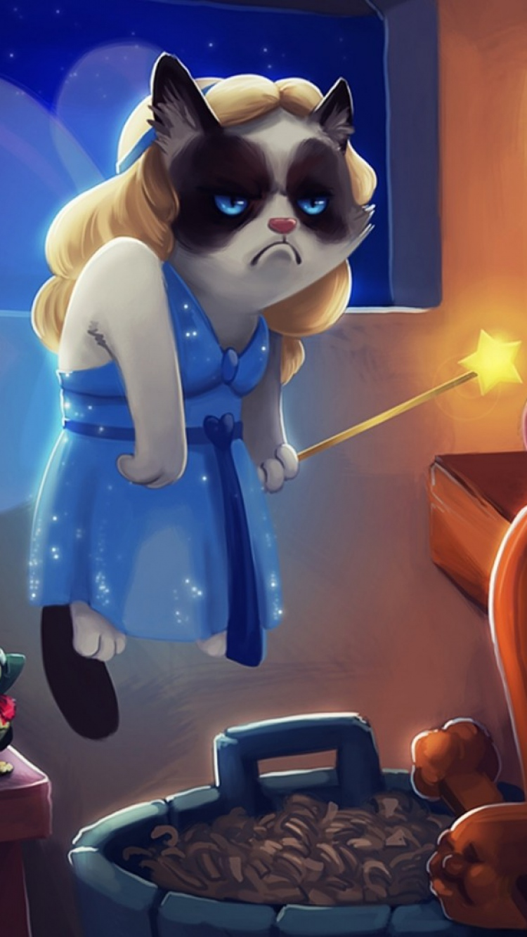 Download Wallpaper 750x1334 Grumpy cat Cat Pinocchio Cartoon iPhone 750x1334