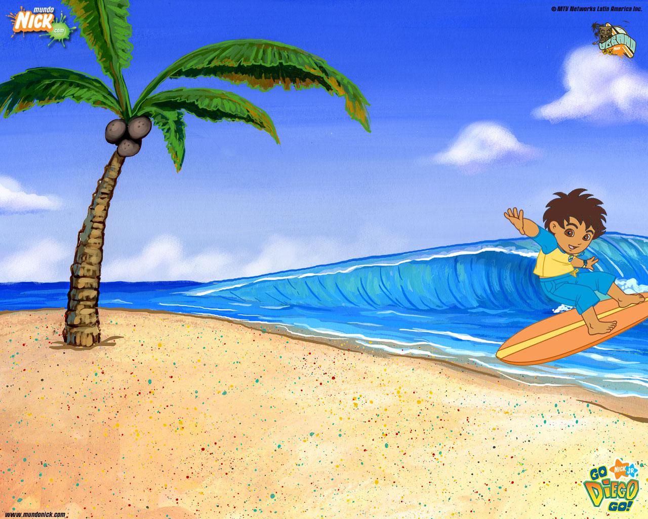 Go Diego Go surfing Wallpaper   Go Diego Go Wallpaper   Cartoon 1280x1024