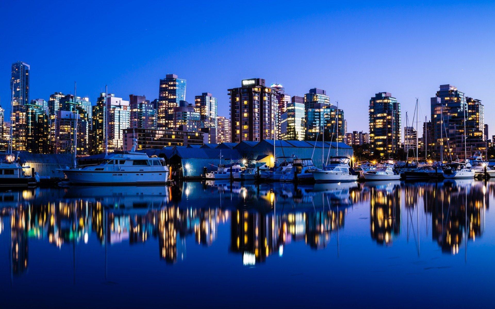 landscapes Canada Vancouver boats city lights city skyline reflections 1920x1200