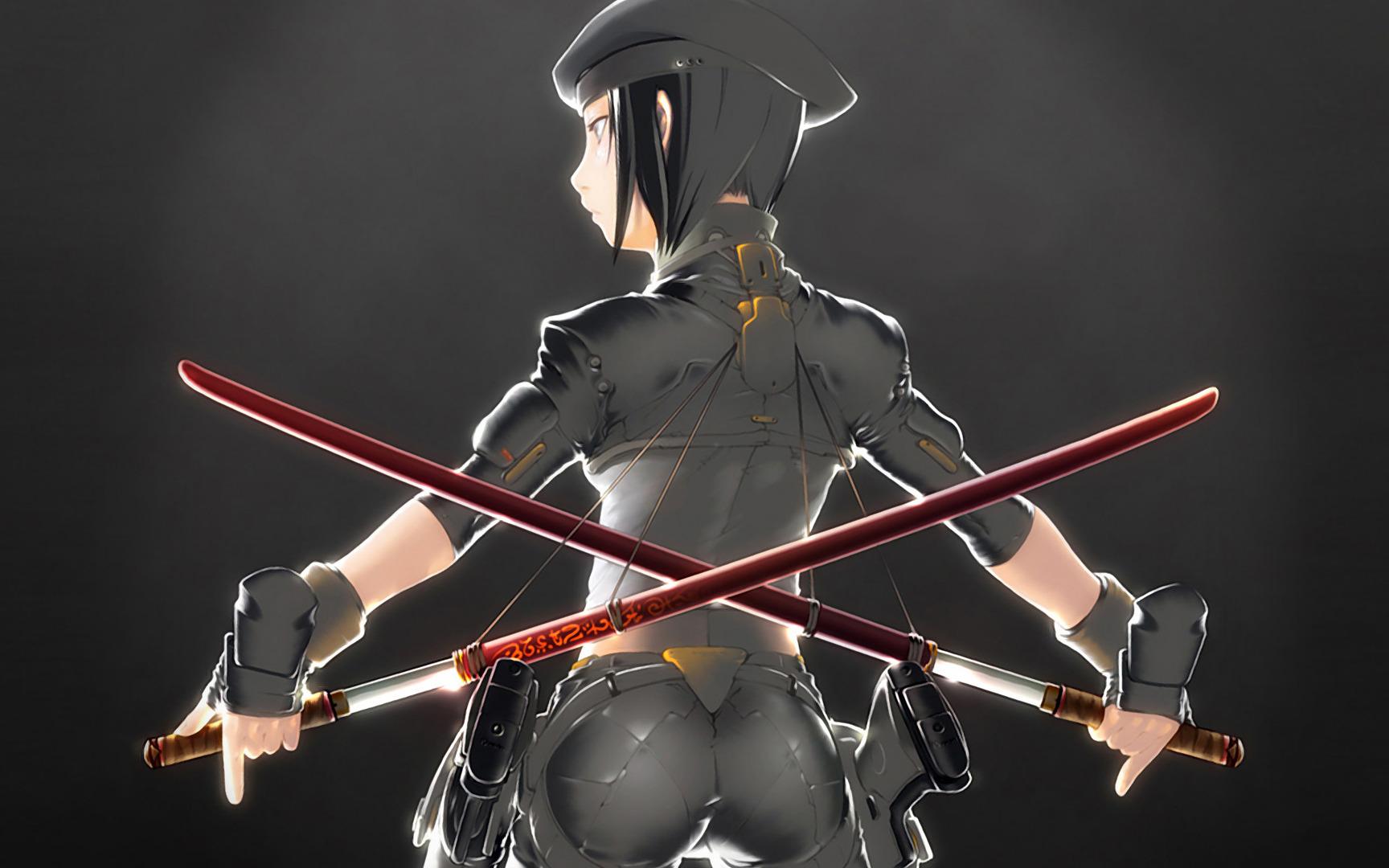 Download Military girl with katana swords wallpaper