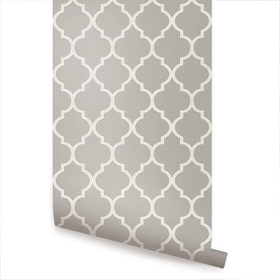 Moroccan Warm Grey Peel Stick Fabric Wallpaper by AccentuWall 570x570