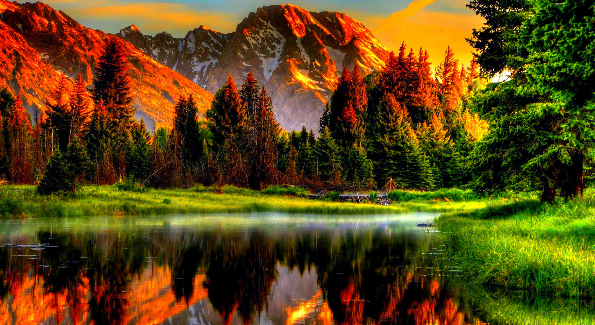 Scenic Sunset amb wallpapers 2048x1118