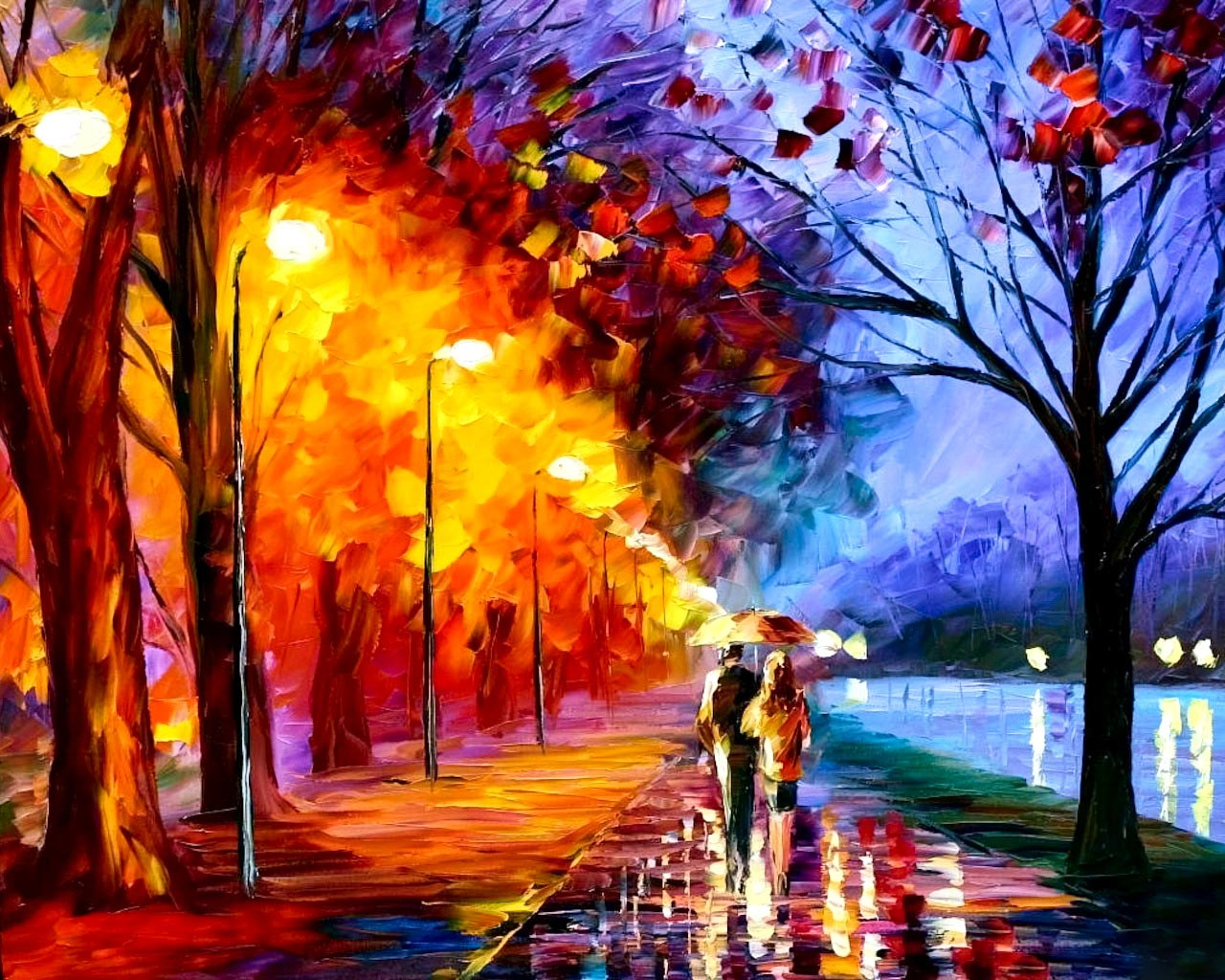 Autumn Oil Painting Wallpaper High Quality WallpapersWallpaper 1280x1024