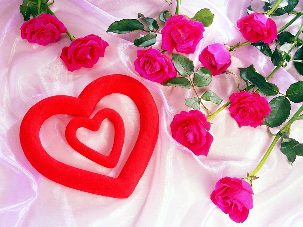 Red Valentine Love Heart computer desktop wallpapers pictures 1024x768