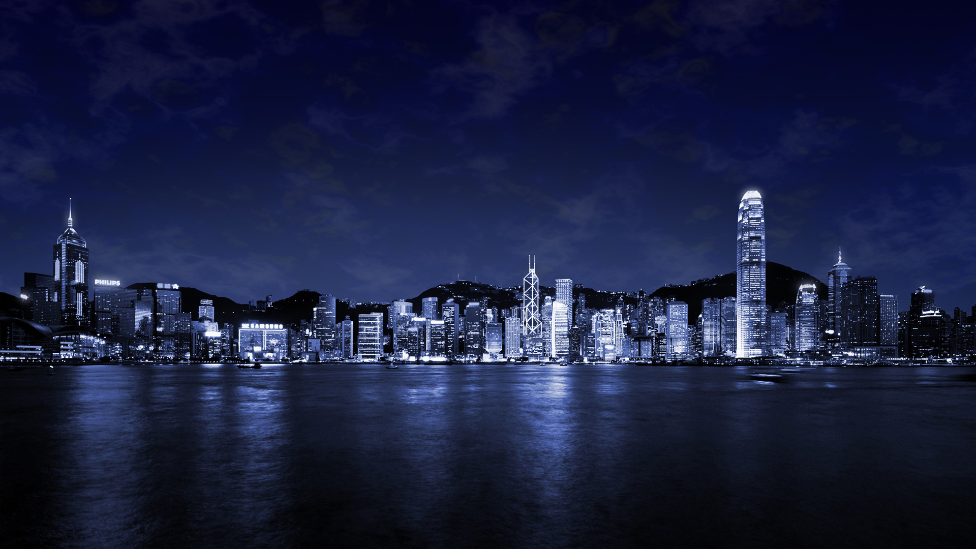Download Wallpaper Photos city at night on the big water   1920x1080 1920x1080