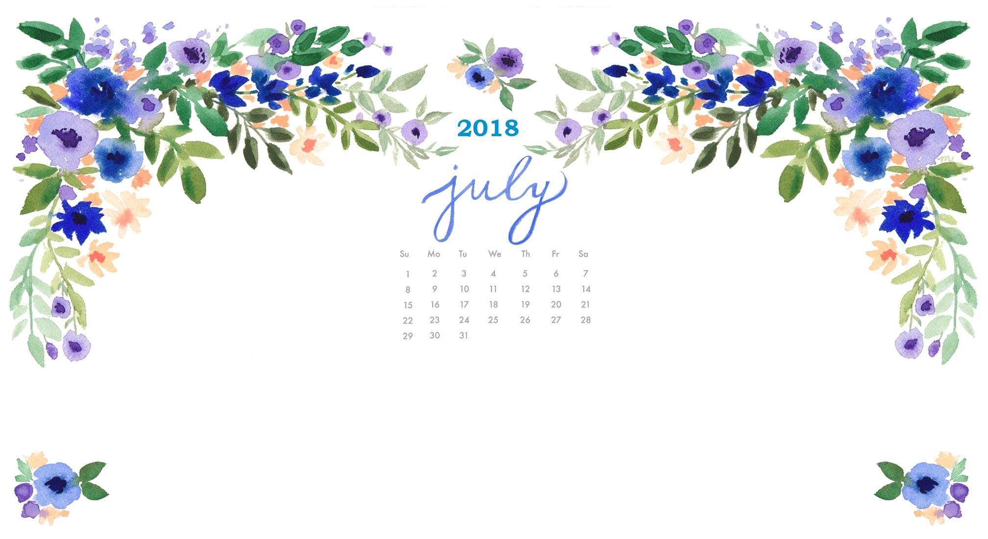 July 2018 HD Wallpaper Calendar Calendar 2019 2016x1100