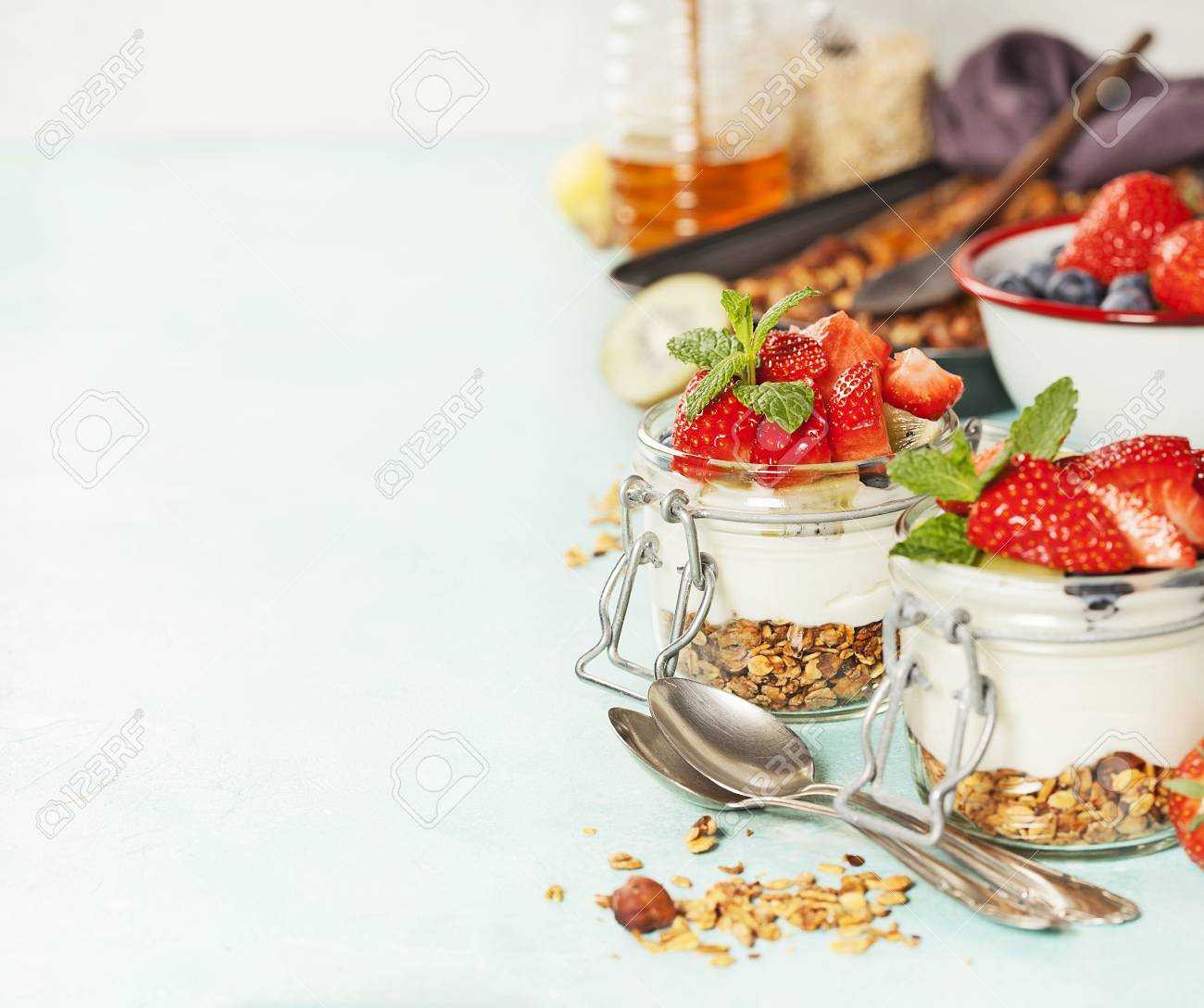 Homemade Granola Muesli With Nuts And Dried Fruits And Yogurt 1300x1088