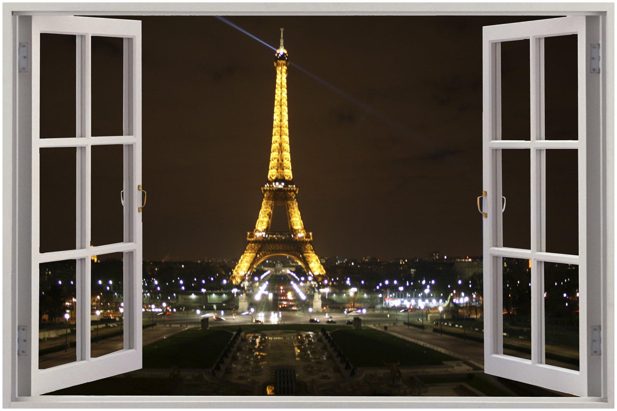 Window Eiffel Tower Paris View Wall Stickers Mural Art Decal Wallpaper 2000x1333