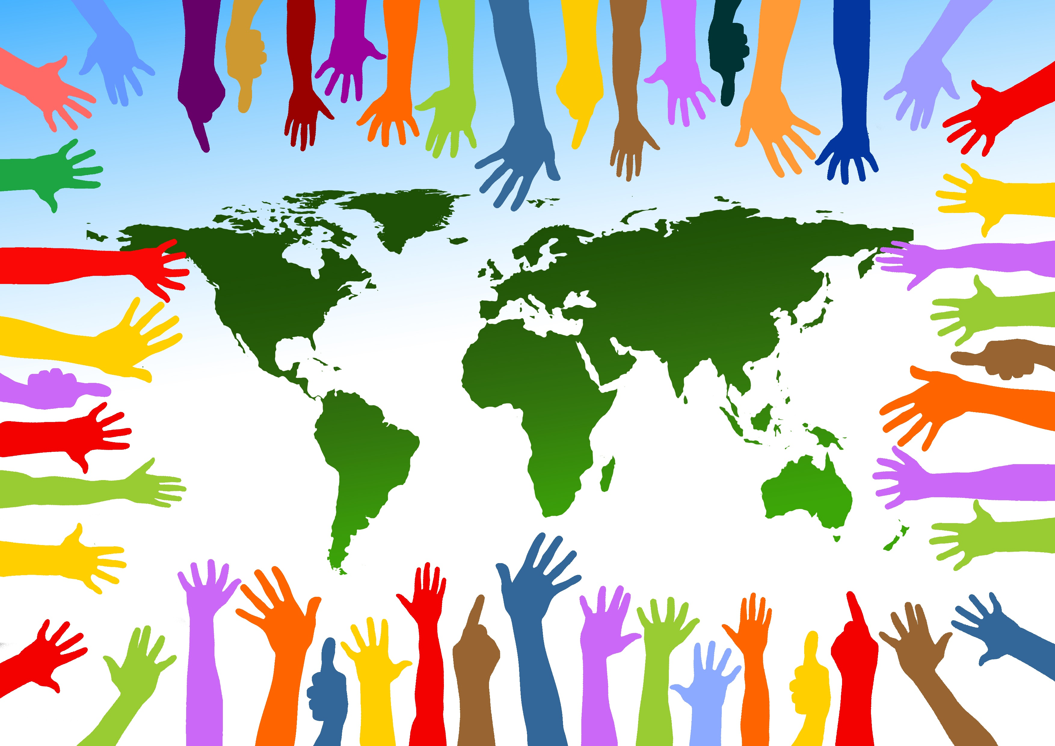 Colored hands on the background of a globe means cooperation 3508x2480