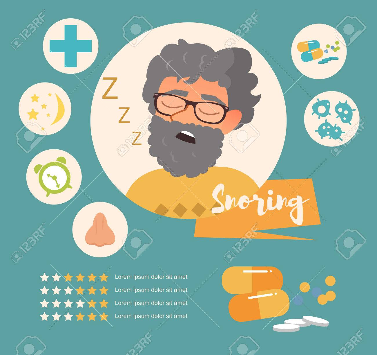 Snoring Vector Art On A White Background Royalty Cliparts 1300x1222