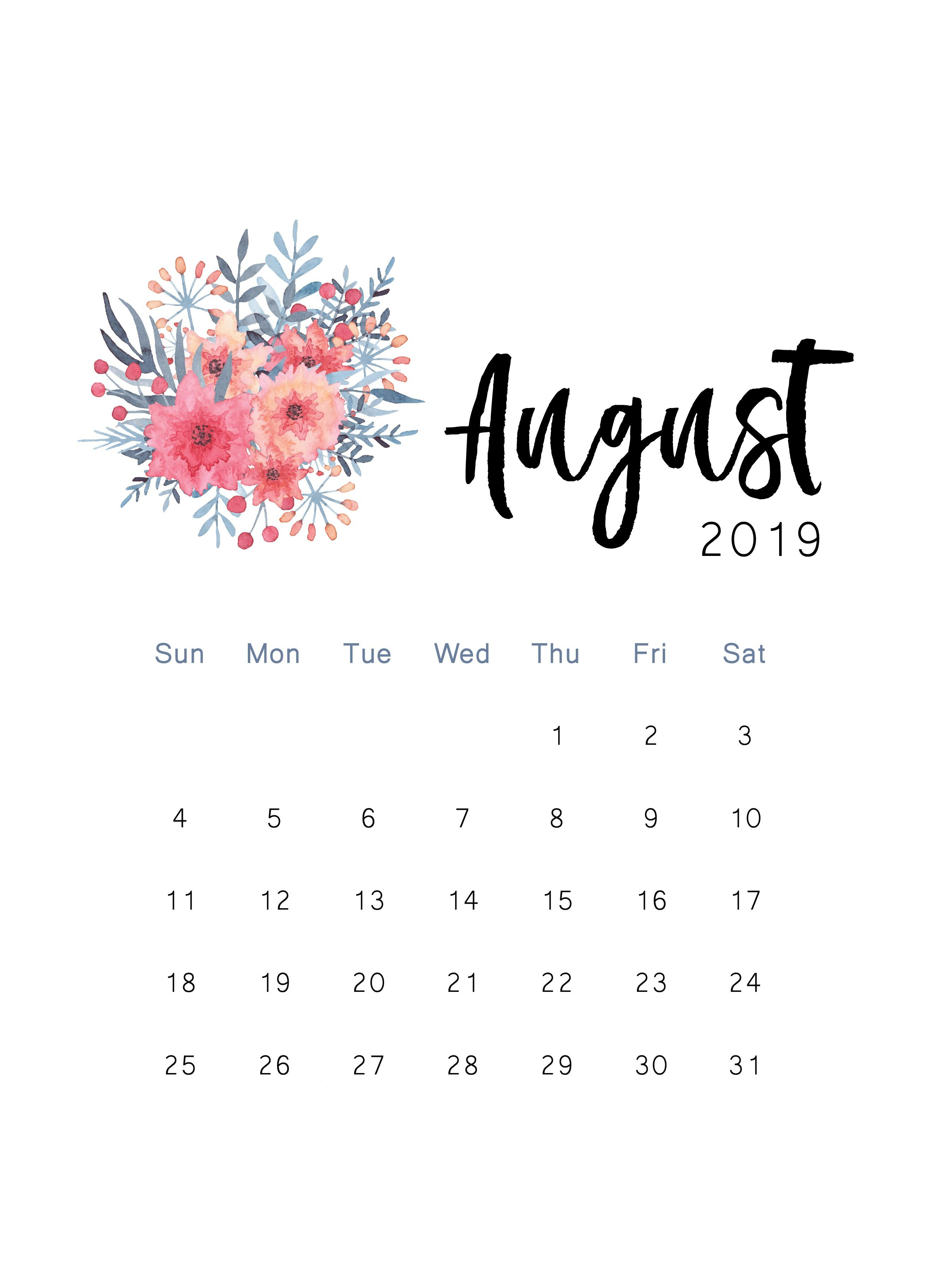 Cute August Calendar 2019 Wallpaper in Floral Design   Printable 2623x3649