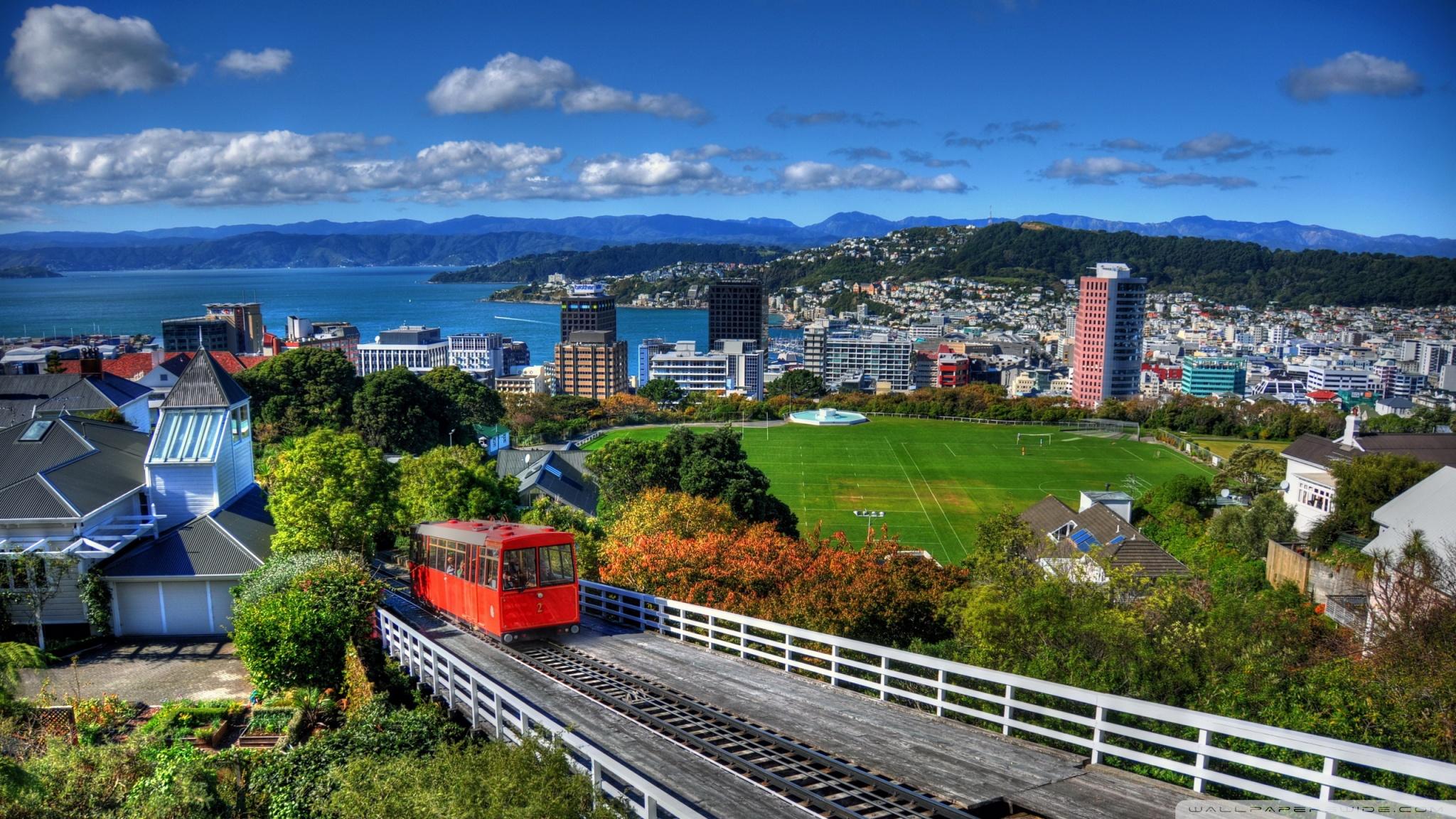 New Zealand Houses Wellington From Above 4K HD Desktop 2048x1152