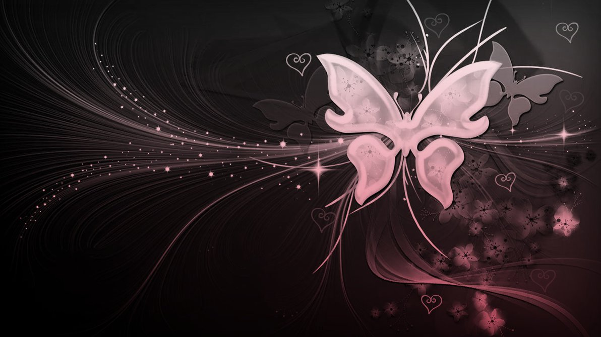 Free Download Black And White And Pink Butterfly With Hearts By