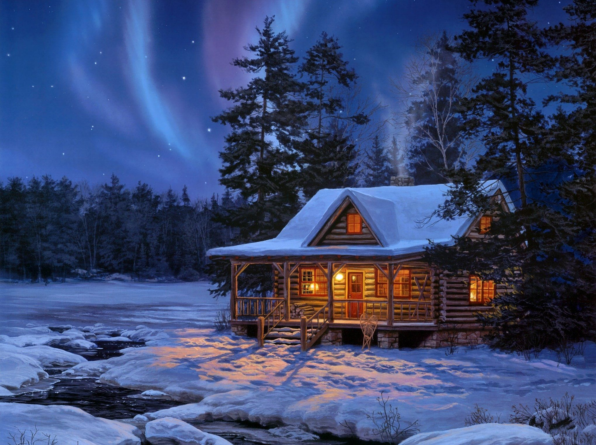 HD A Small Cottage In The Snowy Woods Wallpaper Download 2040x1522