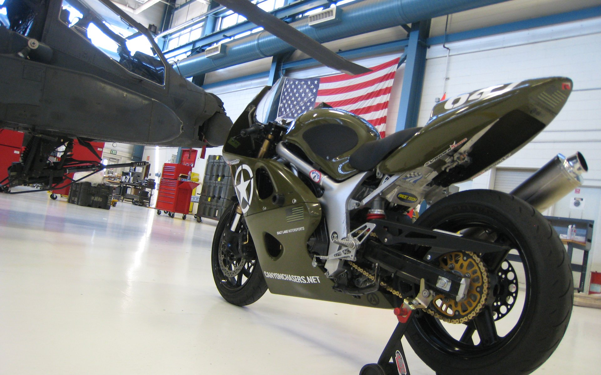 SV650 Race Motorcycle with Apache Full HD Wallpaper and 1920x1200