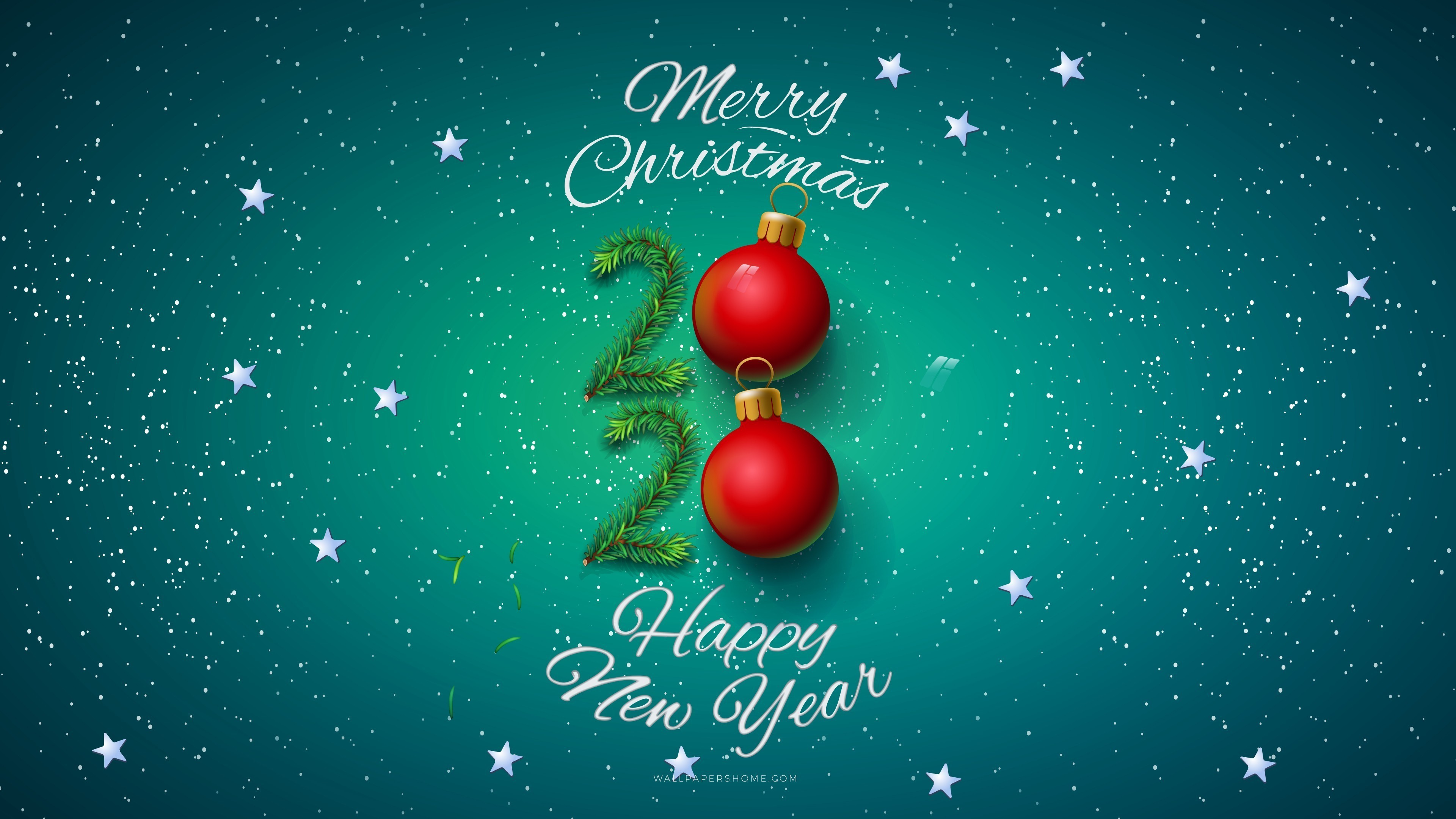 Merry Christmas with Happy New Year 2020 HD Wallpapers 3840x2160
