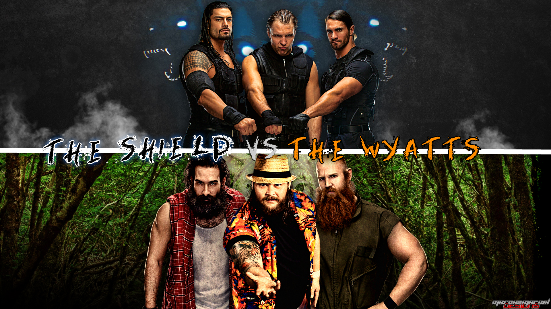 wwe ec   the shield vs  the wyatts wallpaper by marcusmarcel d77pcrl 1920x1080