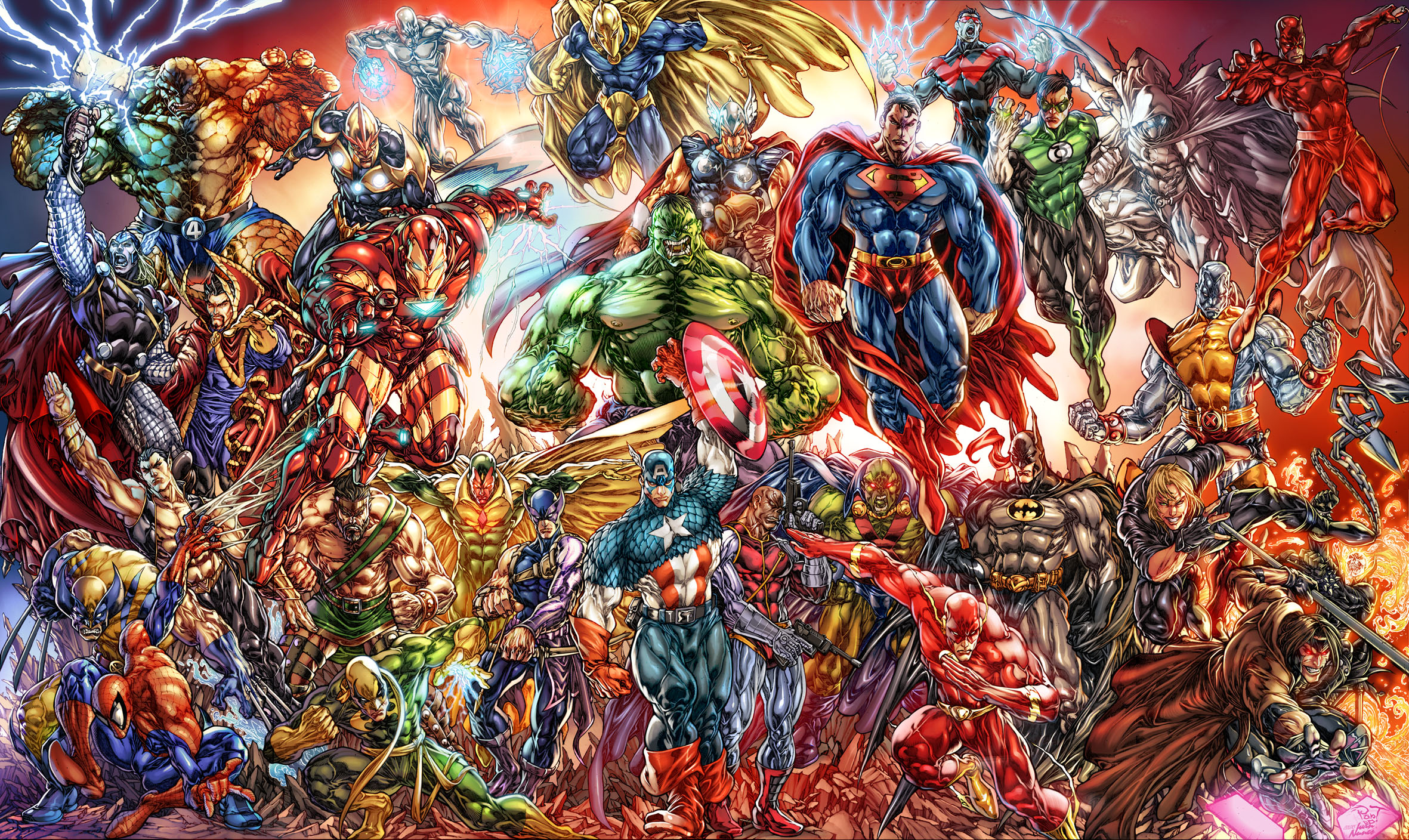 Of Marvel And DC Characters Computer Wallpapers Desktop Backgrounds 2362x1408