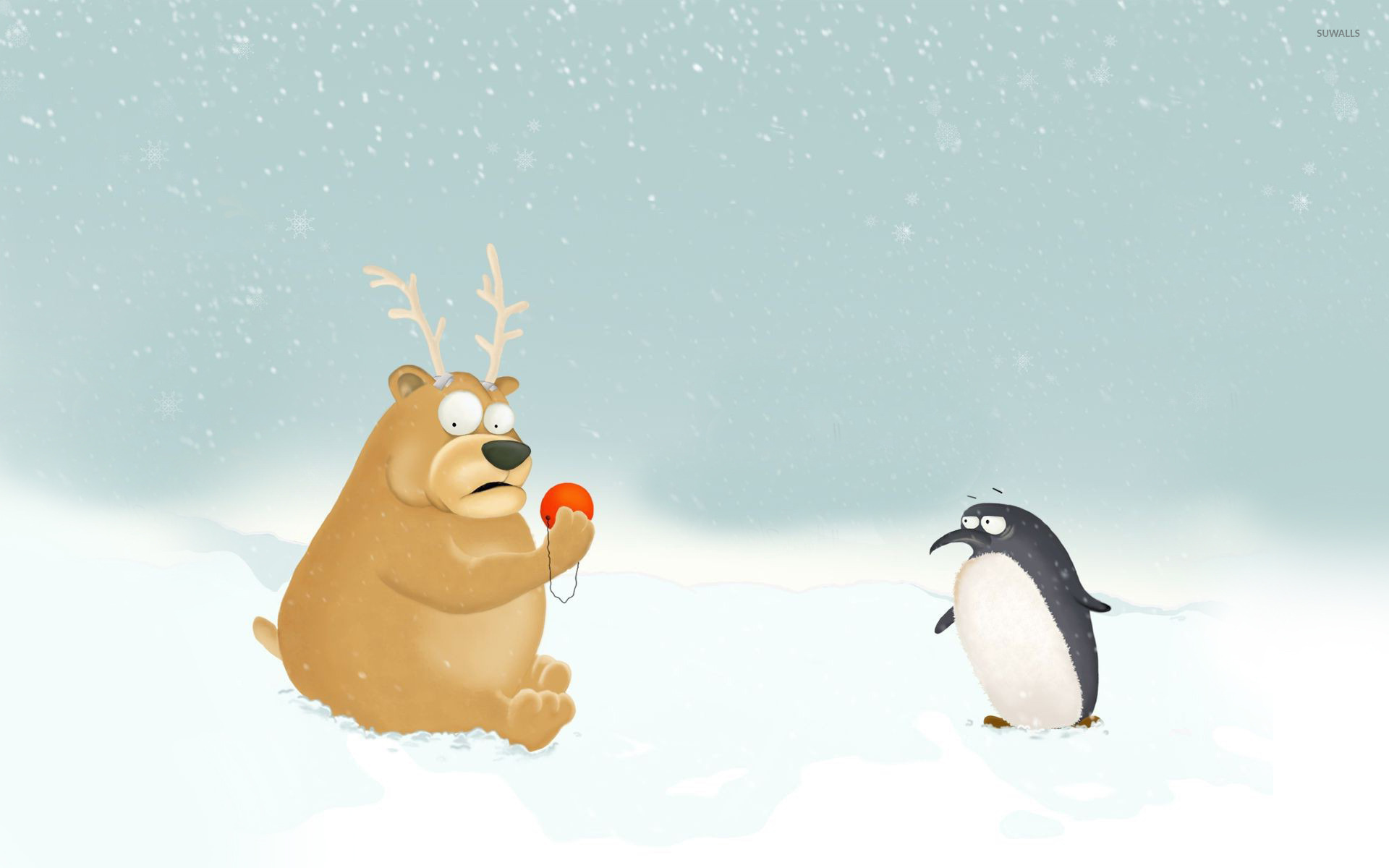 Penguin and bear dressed as Rudolph wallpaper   Funny wallpapers 1920x1200