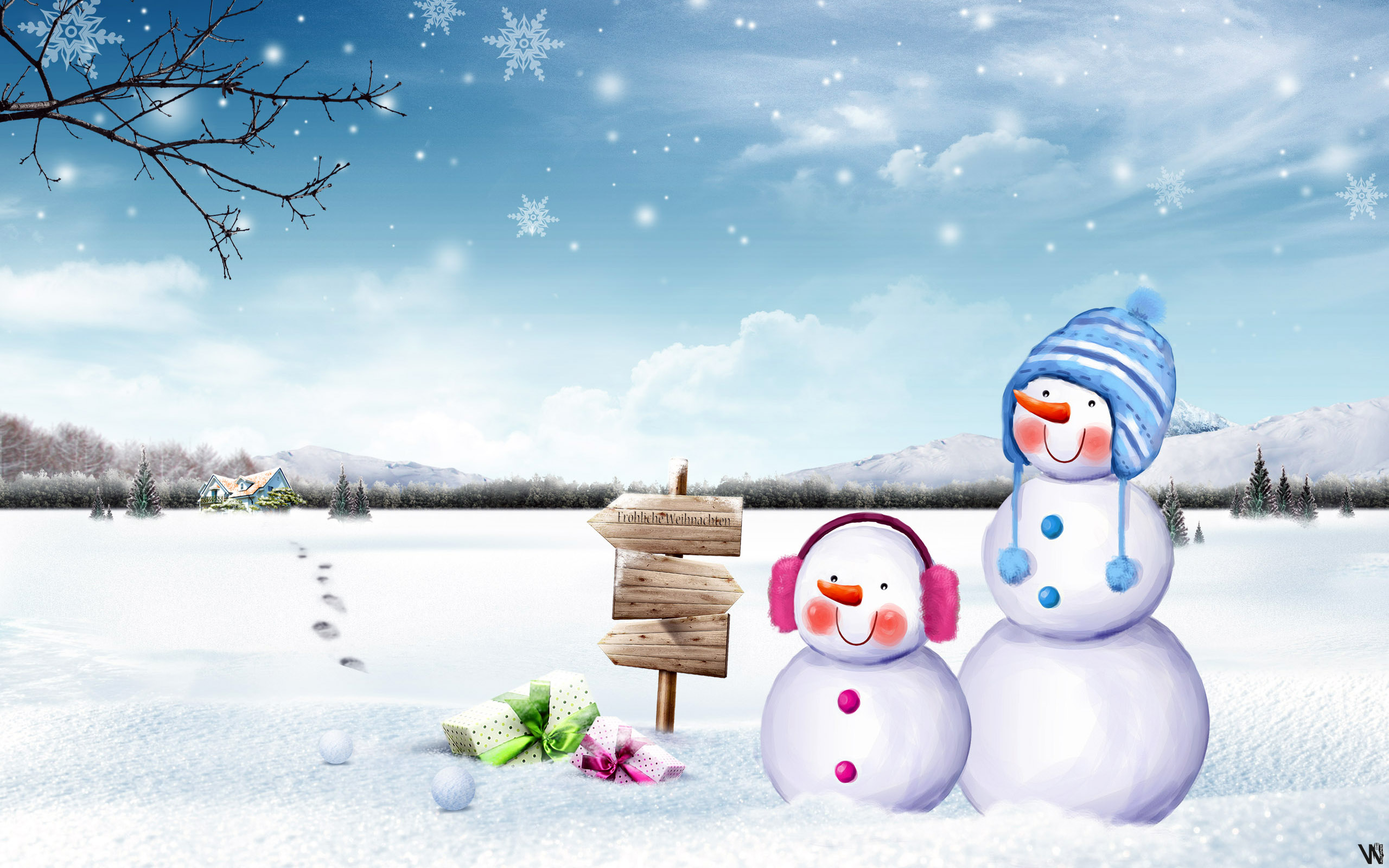 schattig sneeuwmannen wallpaper   ForWallpapercom 2560x1600