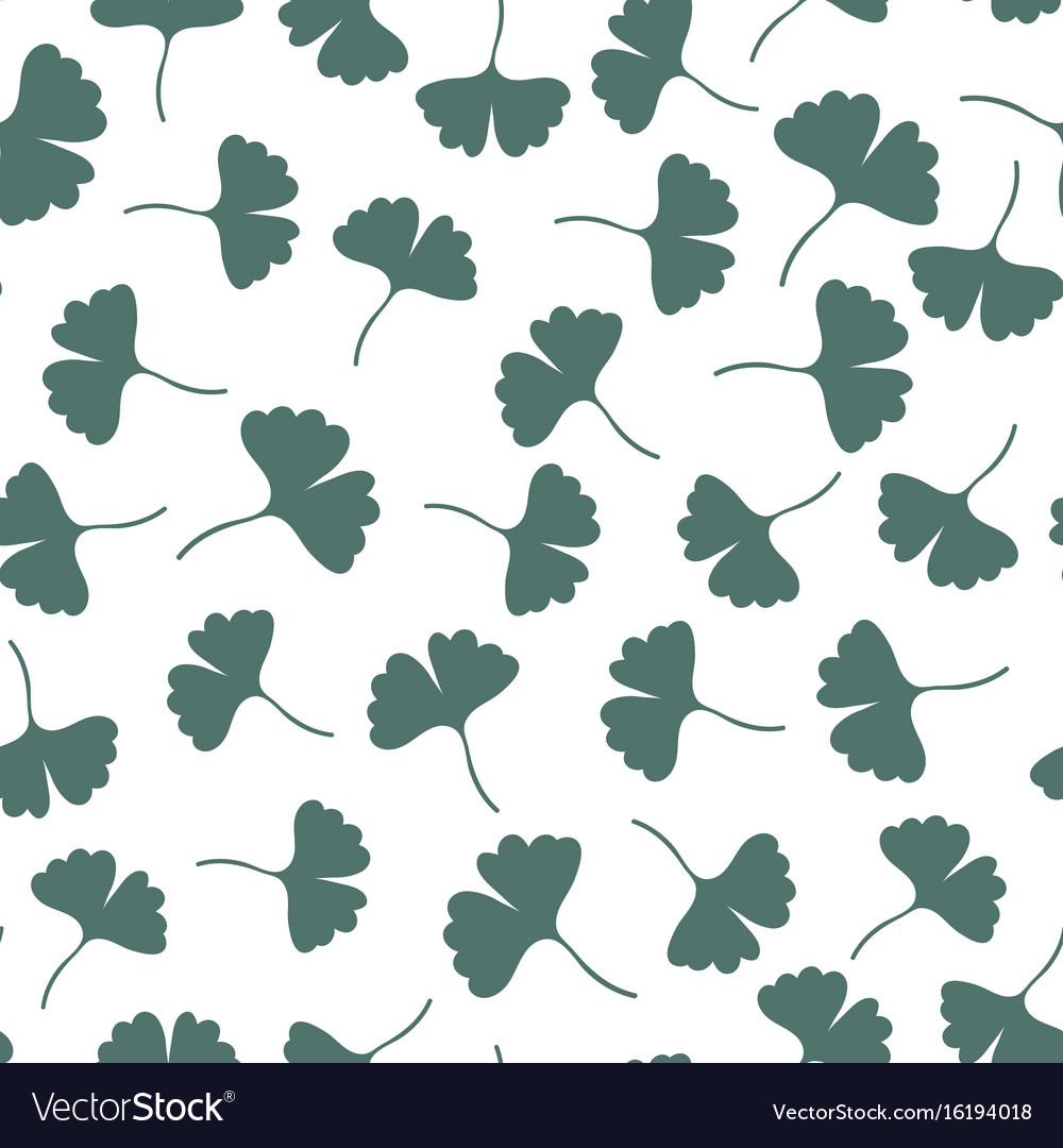 Ginkgo leaves seamless pattern herbs background Vector Image 1000x1080