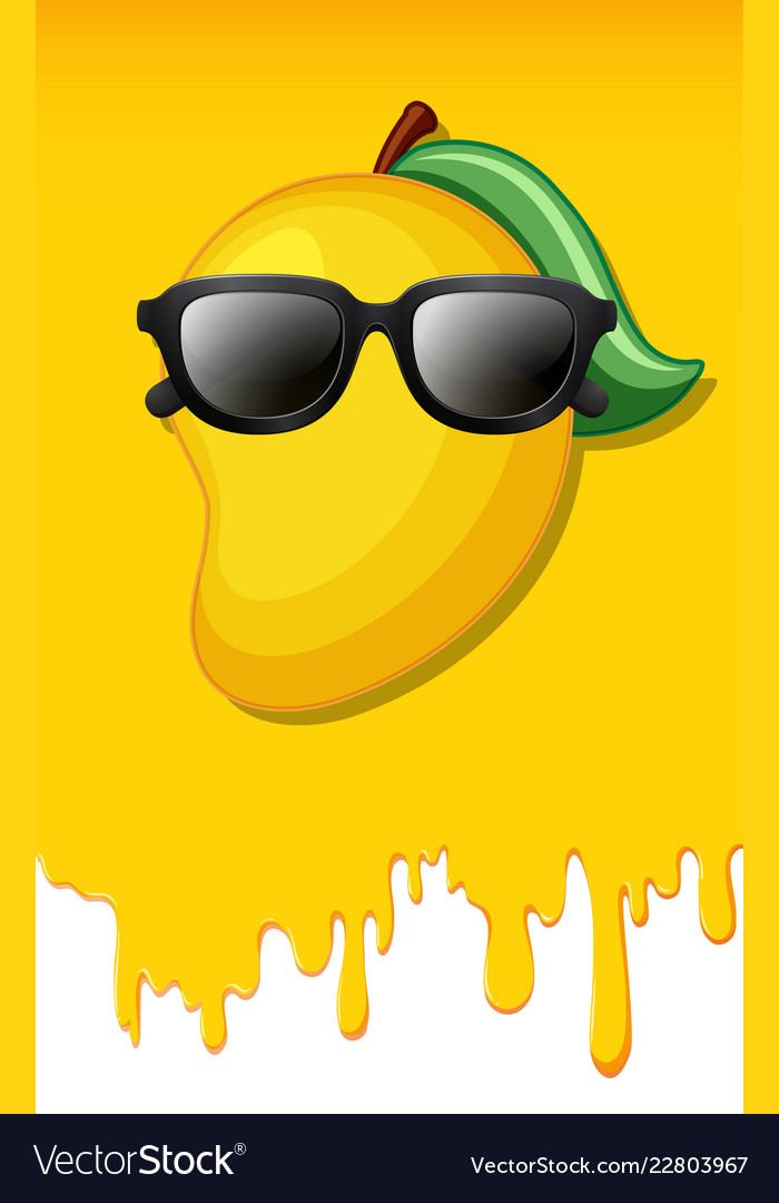 Mango on yellow juice texture background Vector Image 700x1080