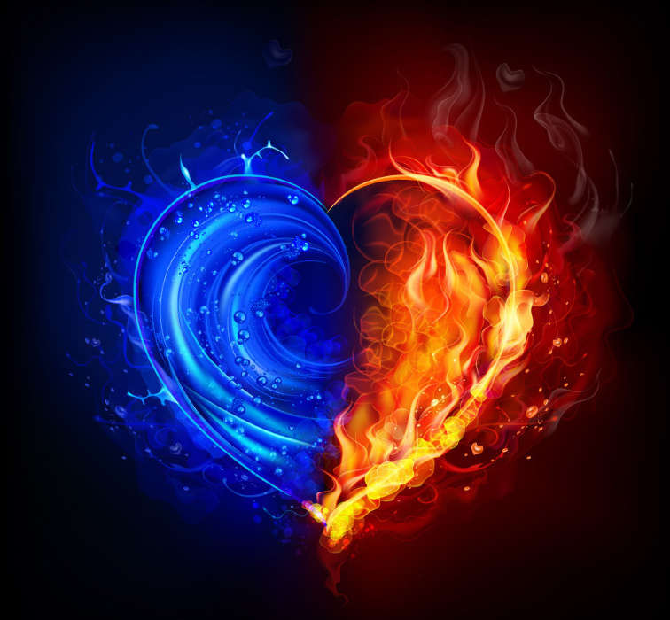 Download mobile wallpaper Holidays Water Background Fire Hearts 756x700