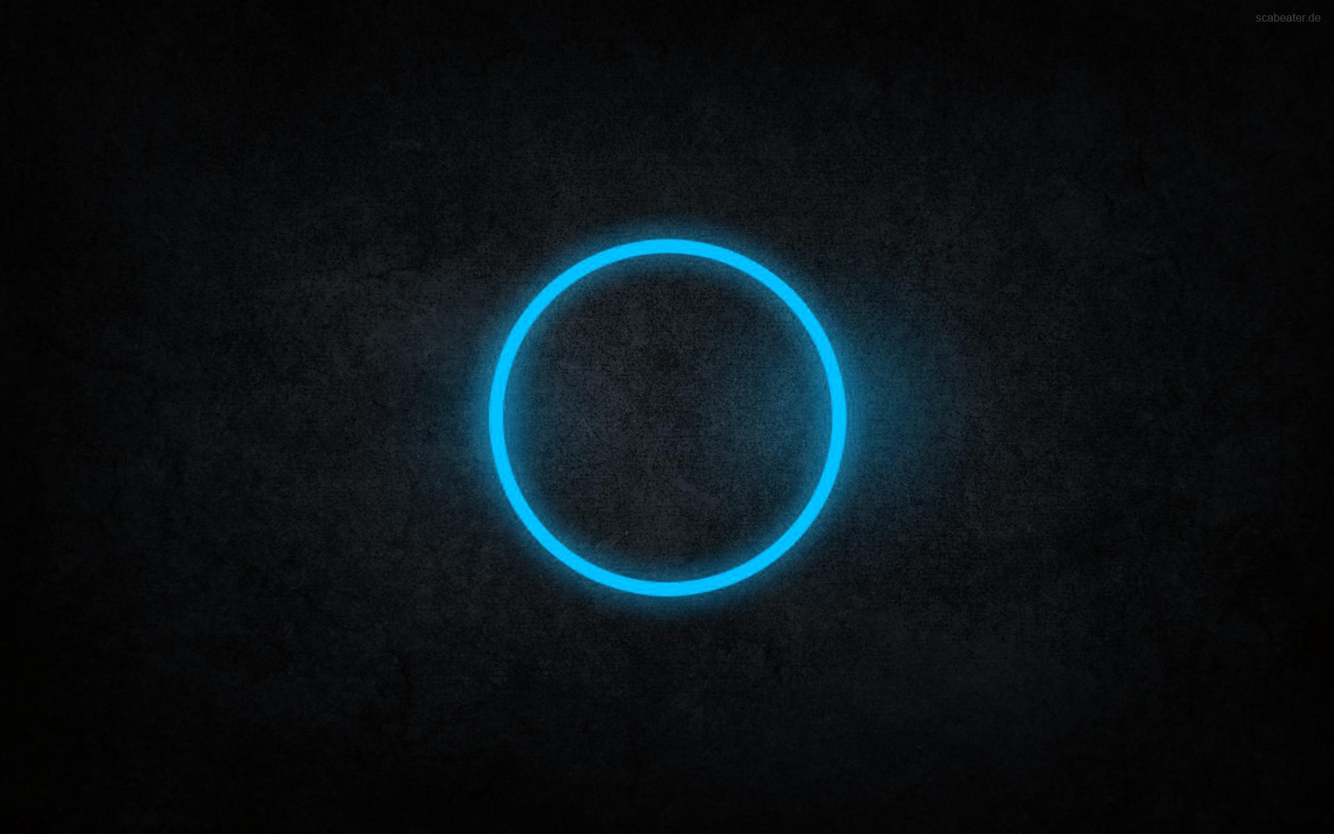 Abstract blue black dark circles rings cyan neon art wallpaper 1920x1200