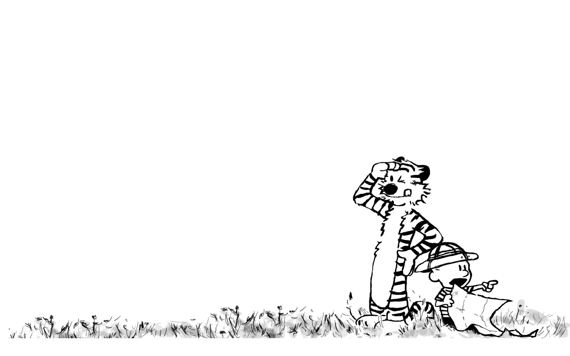 Calvin and Hobbes Wallpapers Black and White 1920x1200