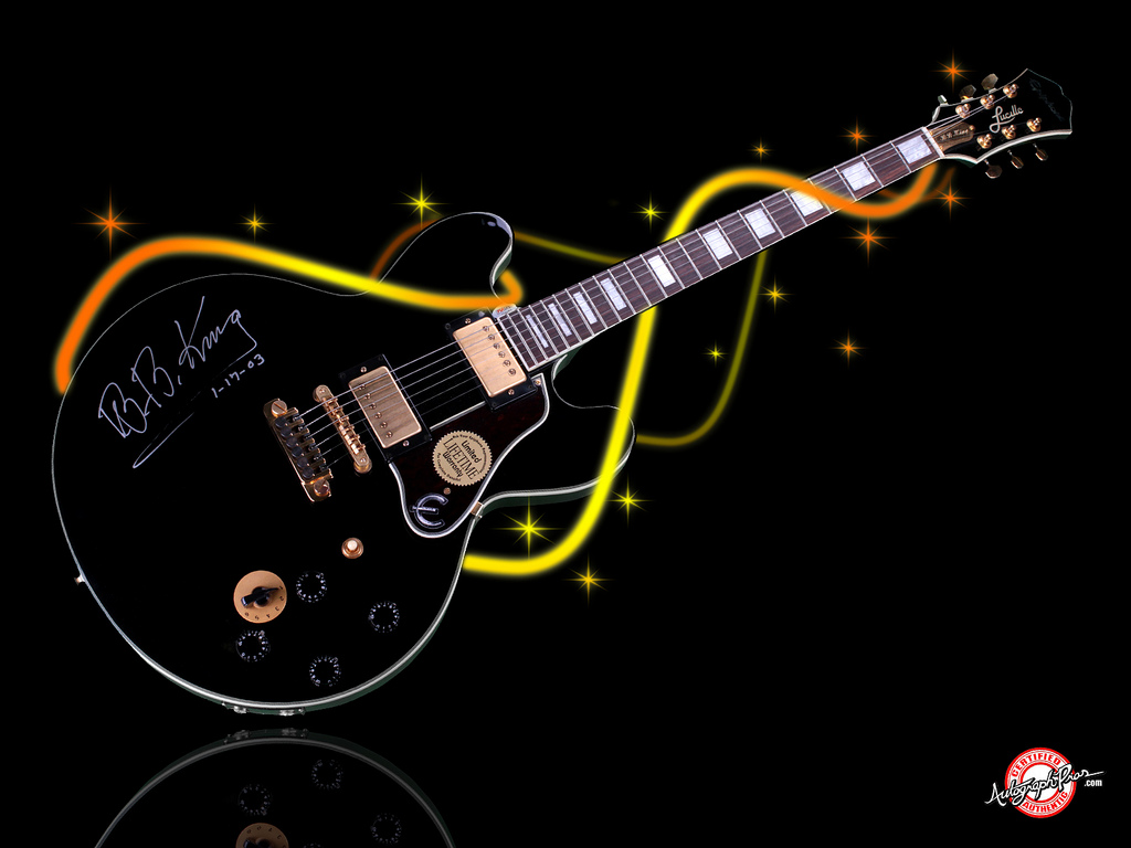 BB King Gibson Lucille Autographed Signed Guitar   Wallpaper 1024x768