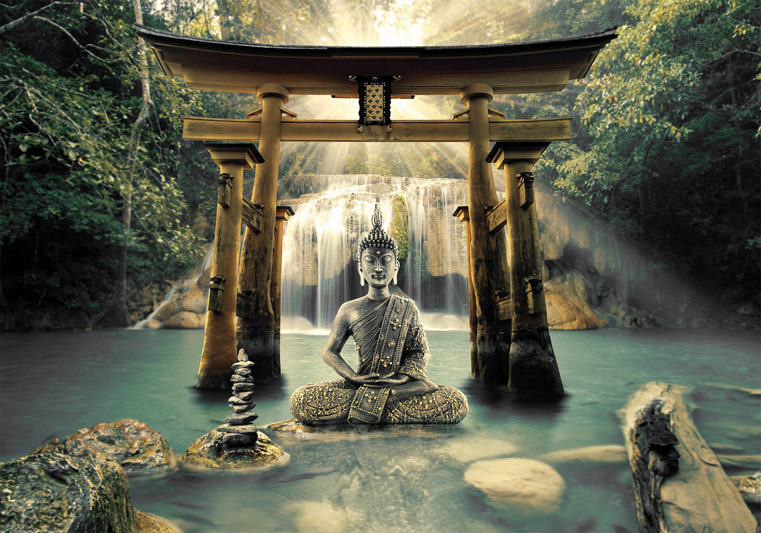 BUDDHA ZEN SPA Photo Wallpaper Non woven fleeceSelf adhesive 1569x1098