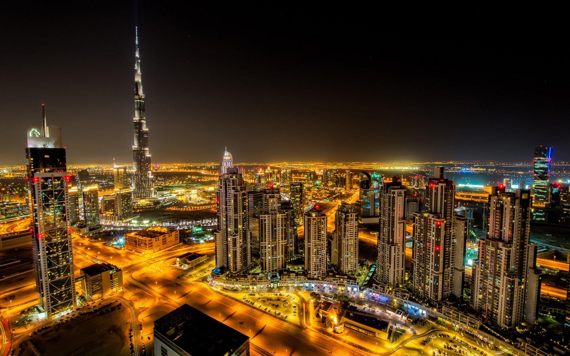 Dubai city night road building hd wallpaper wallpaper 1920x1200 1920x1200