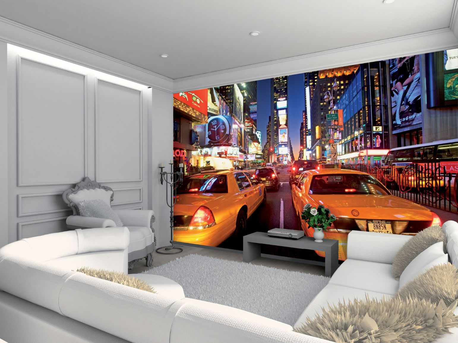 GIANT WALLPAPER WALL MURAL NEW YORK TIMES SQUARE YELLOW TAXI THEMED 1542x1156
