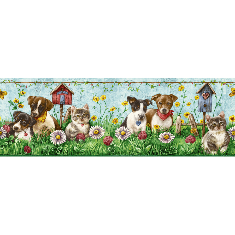 allen roth 5 Dogs And Cats Prepasted Wallpaper Border at Lowescom 900x900