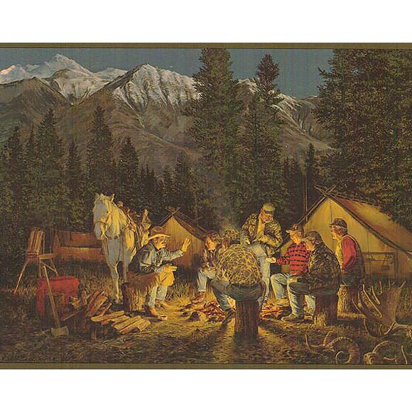 Products Cowboy Campfire Mountain Scene Western Wallpaper Borders 580x580