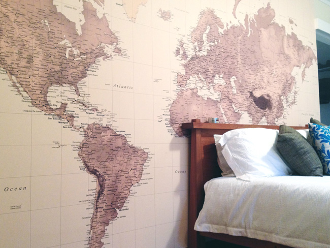 World Map Wallpaper   Customer Photos Wallpapered blog 650x488