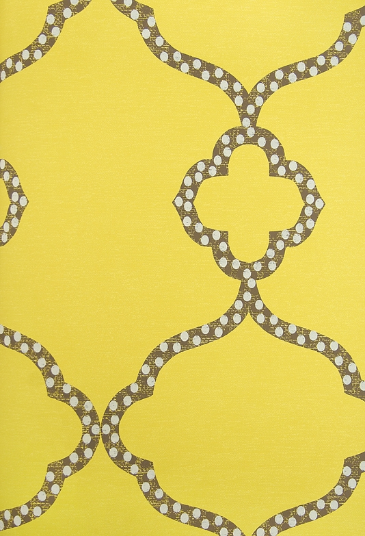 Gibraltar Trellis Wallpaper Bright Yellow Wallpaper with dark brown 534x783