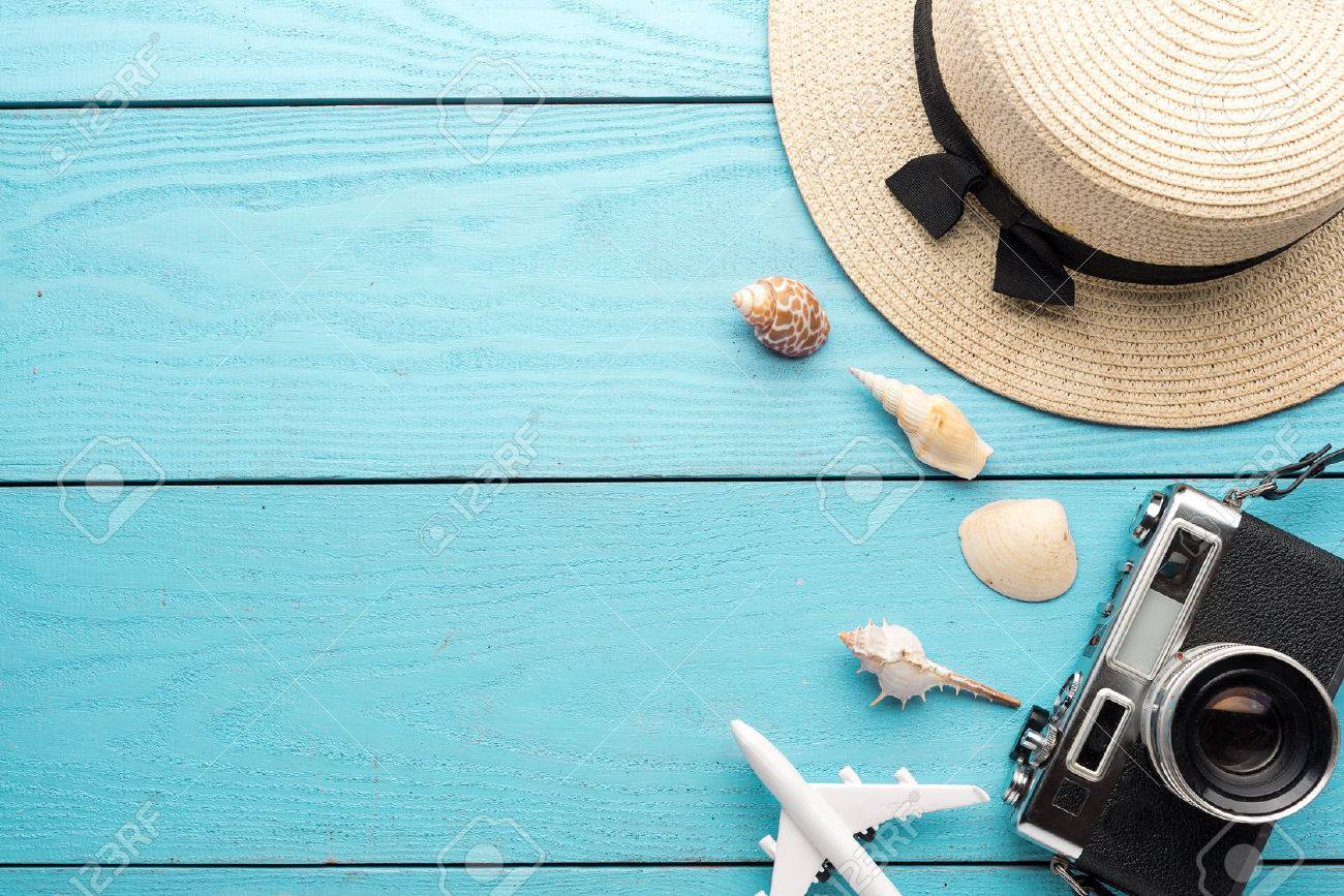 Summer Holiday Background Travel And Vacation Items On Wooden 1300x867