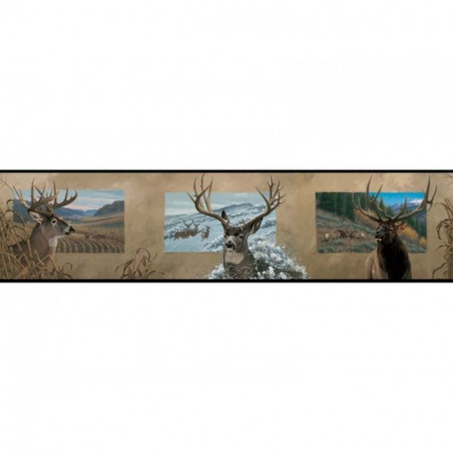 Lake Forest Lodge Antlered Border   Wildlife Decor Wallpaper 510x510