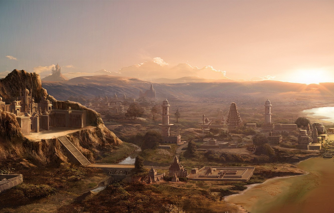 Wallpaper mountains the city the Sumerians ancient images for 1332x850