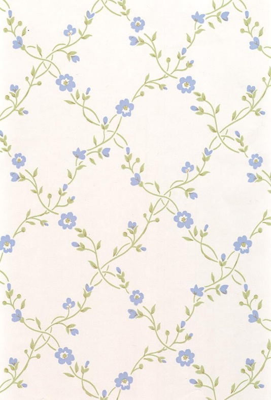 Pretty floral trellis wallpaper in blue and green on off white 534x787