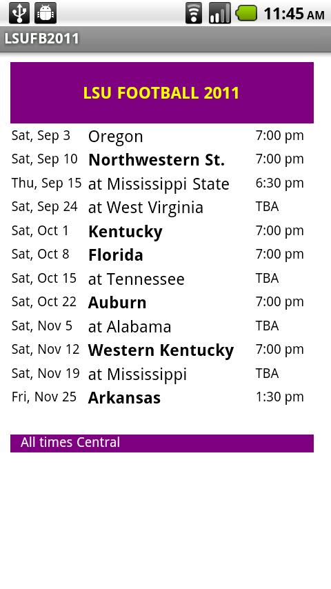 LSU Football Schedule   screenshot 480x854