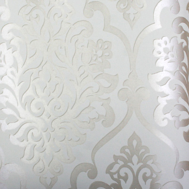 Living Nino Silver and White Damask Wallpaper contemporary wallpaper 640x640