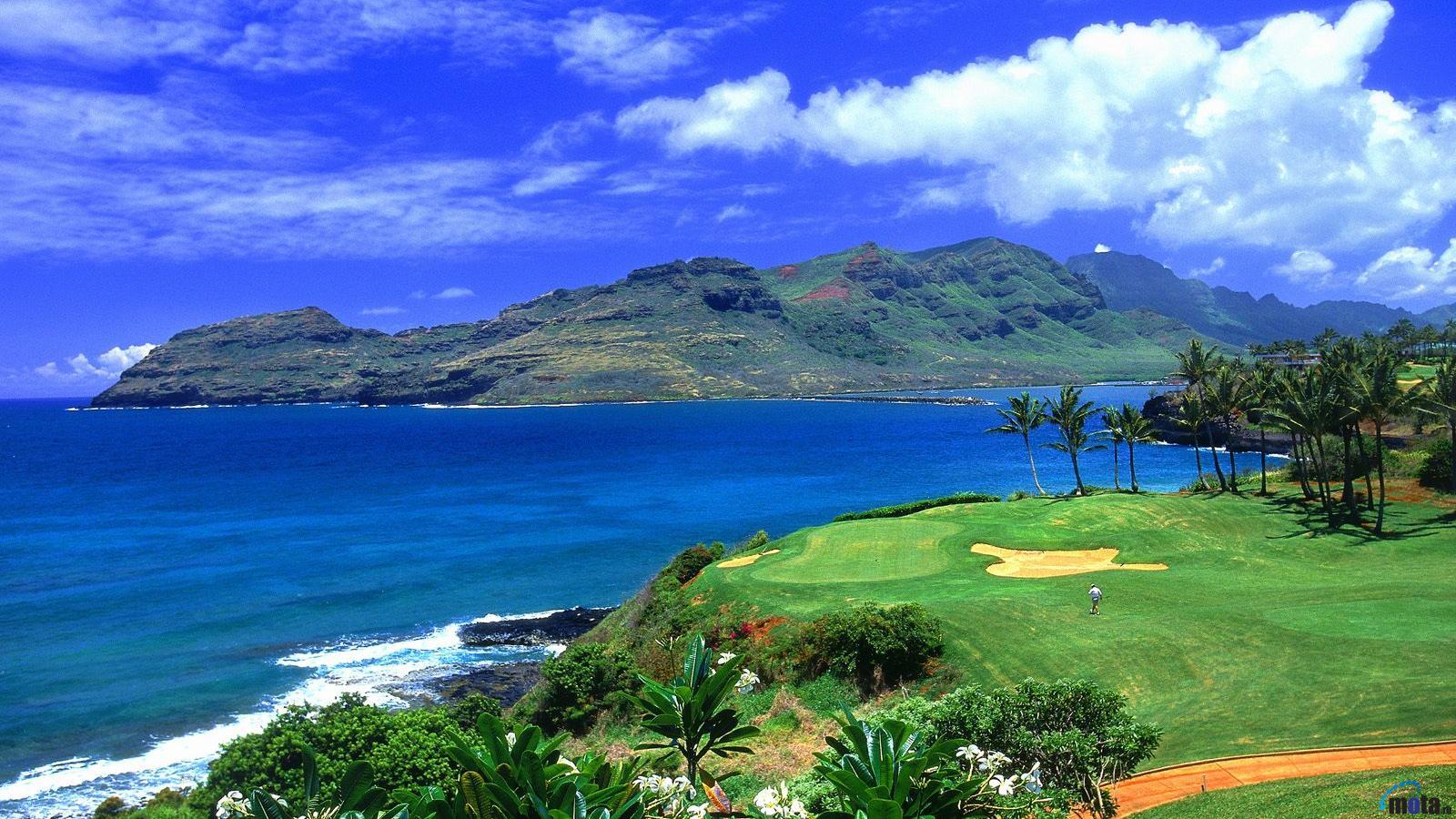Download Wallpaper Golf Course in Hawaii 1600 x 900 widescreen 1600x900