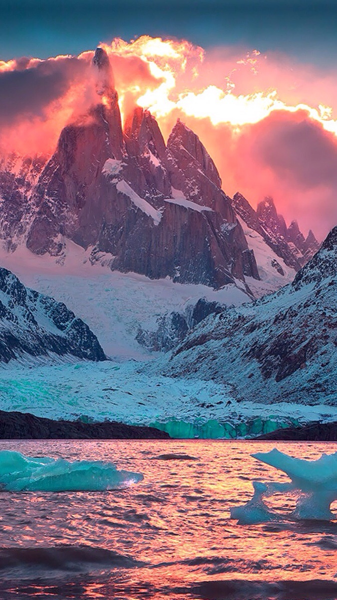 Snowy mountain with orange sky Wallpaper for Amazon Kindle Fire HD 89 675x1200