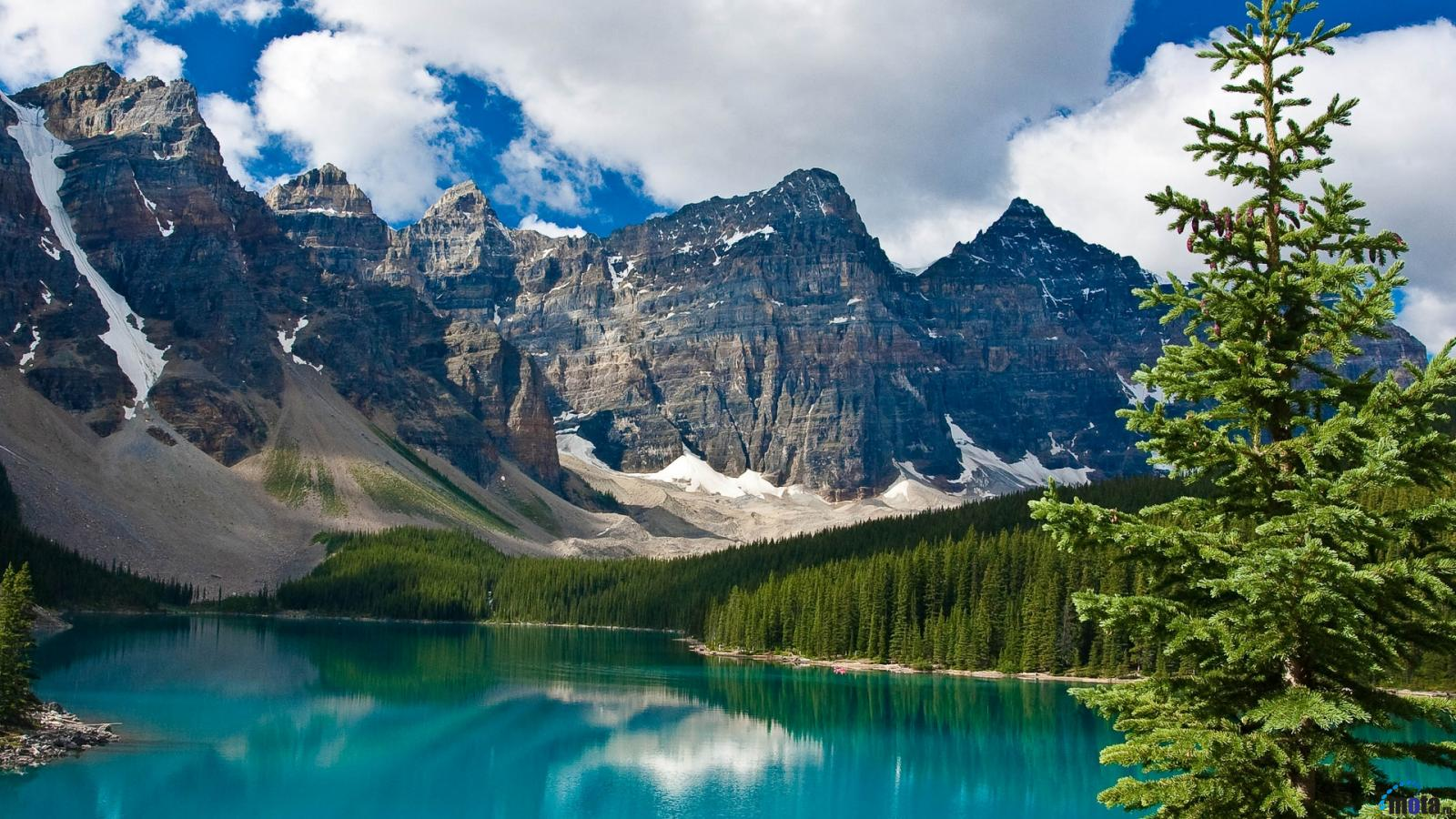 Download Wallpaper Blue lake and rocky mountains 1600 x 900 1600x900
