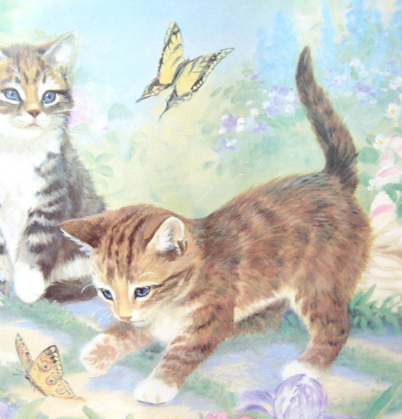 Kitten Cat Wallpaper Border   One Full Pattern   9 Inches Tall by 20 570x594